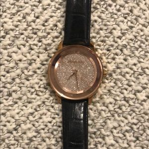 Michael kors rose gold, diamond with leather band